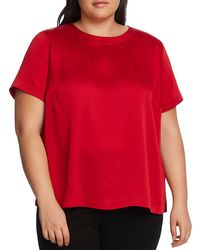 Vince Camuto Signature Rumple Hammer Satin Top - Red