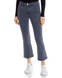 FRAME Le Crop Mini Boot Jeans In Washed Gray Plaid - Blue