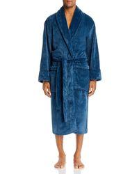 Daniel Buchler Pinstripe Fleece Robe - Blue