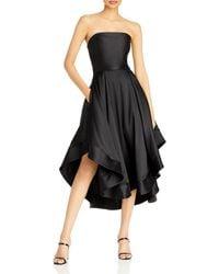 Aqua Mikado Strapless Midi Gown - Black