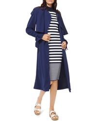 MICHAEL Michael Kors Belted Tie - Detail Trench Coat - Blue