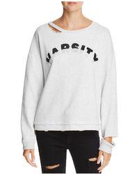 Honey Punch Varsity Cutout Sweatshirt - White