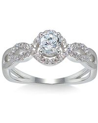 Aqua Infinity Ring In Sterling Silver - Metallic