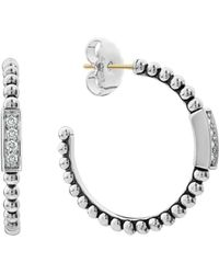 Lagos - Sterling Silver Caviar Spark Diamond Hoop Earrings - Lyst