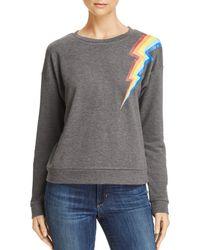 Honey Punch Rainbow Lightning Bolt Sweatshirt - Gray