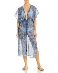 Echo Python Printed Open - Front Midi Swim Cover - Up - Blue