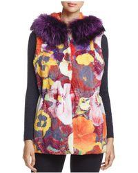 Maximilian - Reversible Floral Rabbit Fur Vest - Lyst