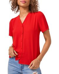 1.STATE Puff Sleeve Button Up Shirt - Red