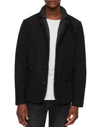 AllSaints Survey Leather Blazer - Black