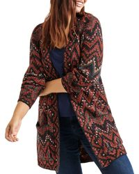 Lucky Brand Plus Size Long Ikat Cardigan Sweater - Red