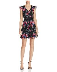 Aqua - Floral Embroidered Mesh Fit-and-flare Dress - Lyst