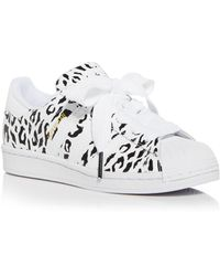 adidas Superstar Leopard Print Low Top Trainers - White