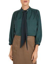 Gerard Darel Mathilda Heart - Print Tie - Detail Blouse - Green