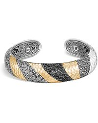 John Hardy 18k Yellow Gold And Sterling Silver Classic Black Sapphire And Black Spinel Kick Cuff Bracelet - Metallic