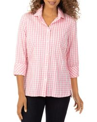 Foxcroft Crinkle Gingham Button Down Shirt - Pink