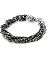 Lagos - 18k Gold And Sterling Silver Caviar Icon Hematite Beaded Multi Strand Bracelet - Lyst