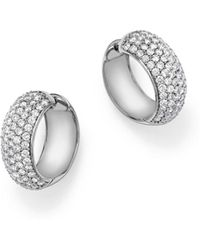 Bloomingdale's - Diamond Huggie Hoop Earrings In 14k White Gold, 3.0 Ct. T.w. - Lyst