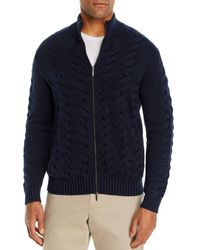 Bloomingdale's Cotton Classic Fit Full - Zip Cable Sweater - Blue