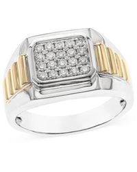 Bloomingdale's Pave Diamond Ring In 14k White & Yellow Gold