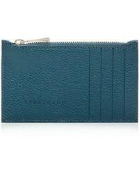 Longchamp Le Foulonné Leather Zip Card Case - Blue
