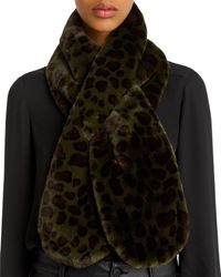 Echo Faux - Fur Animal - Print Pull - Through Scarf - Black