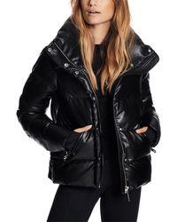 Sam. Isabel Faux Leather Puffer Coat - Black