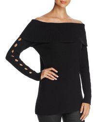 Love Scarlett - Marilyn Off-the-shoulder Cutout-sleeve Sweater - Lyst