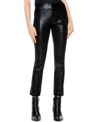 Alice + Olivia Alice + Olivia Stacey Faux Leather Slim Trousers - Black