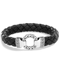 John Hardy - Men's Sterling Silver Classic Chain Ring Bracelet With Braided Black Leather - Lyst