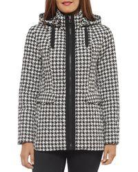 Kate Spade Hooded Houndstooth Printed Jacket - Black