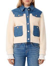 Maje Bamia Denim Trim Faux Fur Jacket - Blue