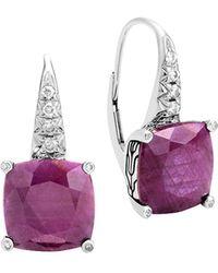 John Hardy   Sterling Silver Classic Chain Magic Cut Indian Ruby Drop Earrings With Diamonds   Lyst