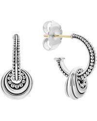 Lagos Signature Caviar Disc Charm Hoop Earrings - Metallic