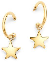 Moon & Meadow 14k Yellow Gold Small Dangling Star Hoop Earrings - Metallic