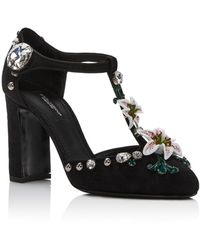 Dolce & Gabbana Embellished T-strap Pumps - Black