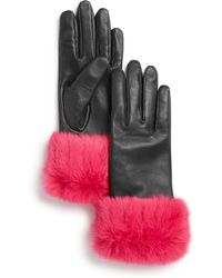 Aqua - Rabbit Fur-cuff Leather Tech Gloves - Lyst