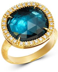 Marco Bicego - 18k Yellow Gold Jaipur Sunset London Blue Topaz & Diamond Ring - Lyst