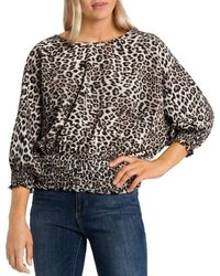 Vince Camuto - Leopard Print Smocked Top - Lyst