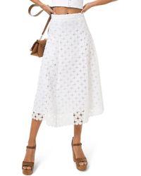 MICHAEL Michael Kors Floral Medallion Lace Skirt - White