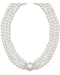 Bloomingdale's Cultured Freshwater Pearl Necklace With Diamond Accents - Multicolour