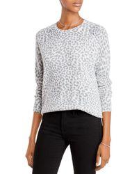 Aqua Cashmere Leopard Print Cashmere Sweater - Multicolor