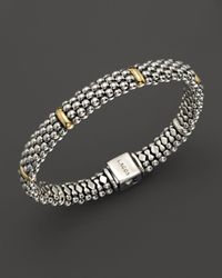 Lagos - Sterling Silver & 18k Yellow Gold Caviar Bracelet - Lyst