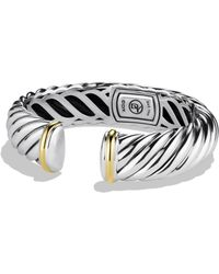 David Yurman - Sculpted Cable Cuff With Gold - Lyst