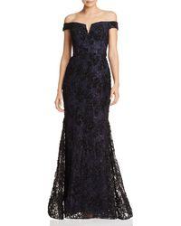 Aqua - Off-the-shoulder Embellished Lace Gown - Lyst