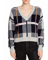 Aqua Plaid V - Neck Sweater - Multicolor