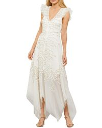 BCBGMAXAZRIA Embroidered Tulle Gown - White