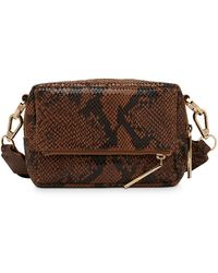 Whistles Bibi Snake Leather Cross Body Bag - Brown