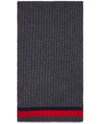 Bloomingdale's Striped Ribbed Scarf - Grey