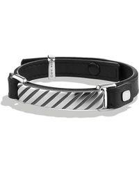David Yurman - Modern Cable Id Bracelet In Black Leather - Lyst