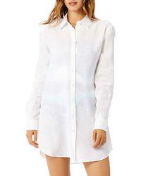 Vilebrequin Linen Button Front Shirt Swim Cover - Up - White